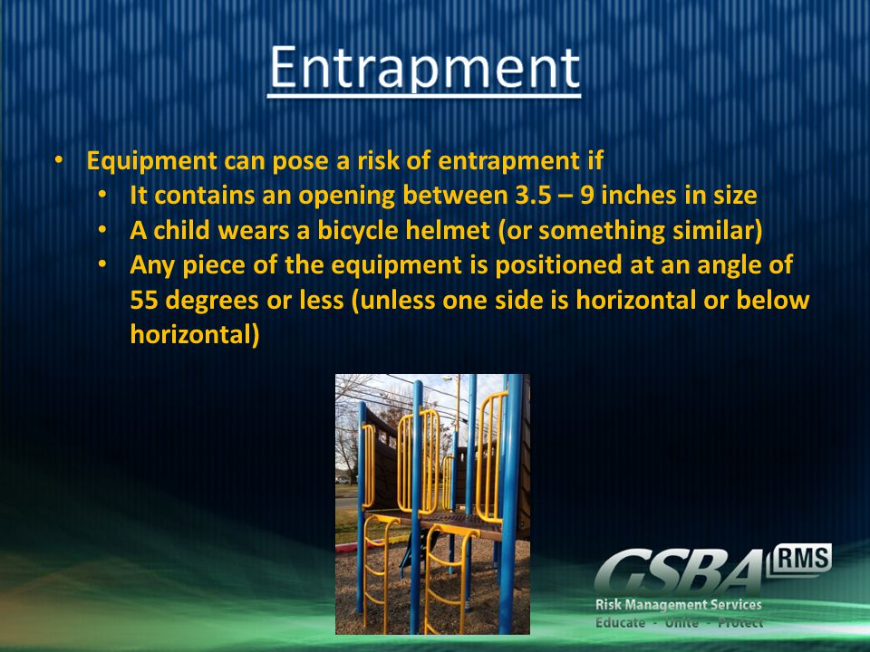 Equipment can pose a risk of entrapment if It contains an opening between 3.5 – 9 inches in size A child wears a bicycle helmet (or something similar)