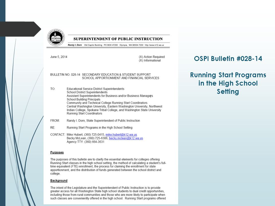 OSPI Bulletin #028-14 Running Start Programs in the High School Setting