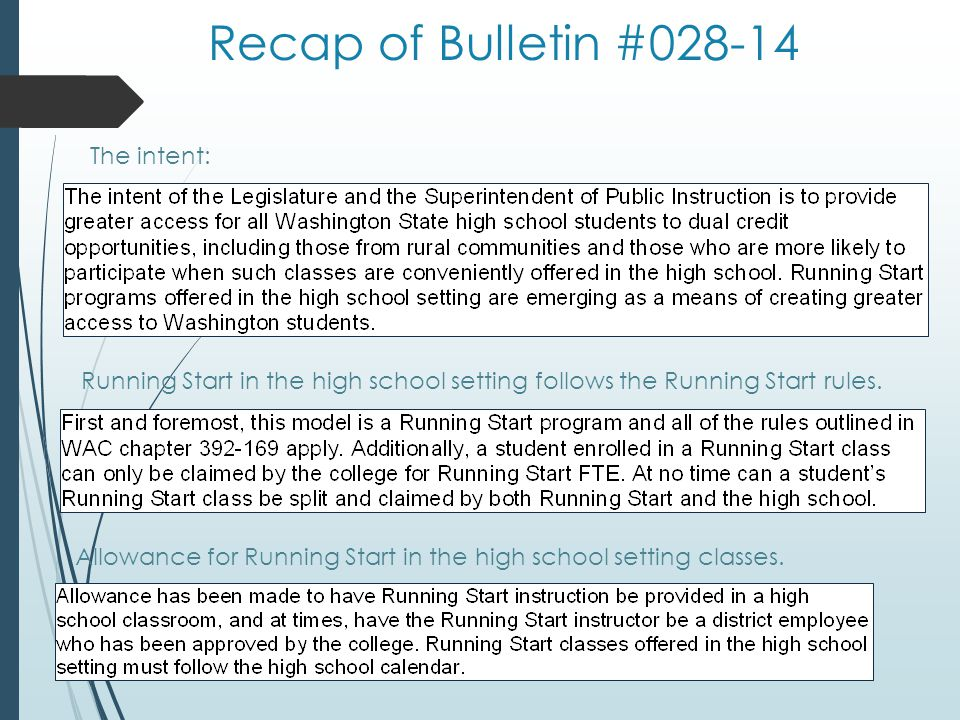 Recap of Bulletin #028-14 The intent: Running Start in the high school setting follows the Running Start rules.