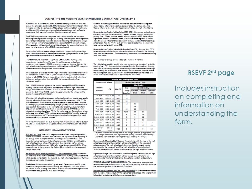 RSEVF 2 nd page Includes instruction on completing and information on understanding the form.