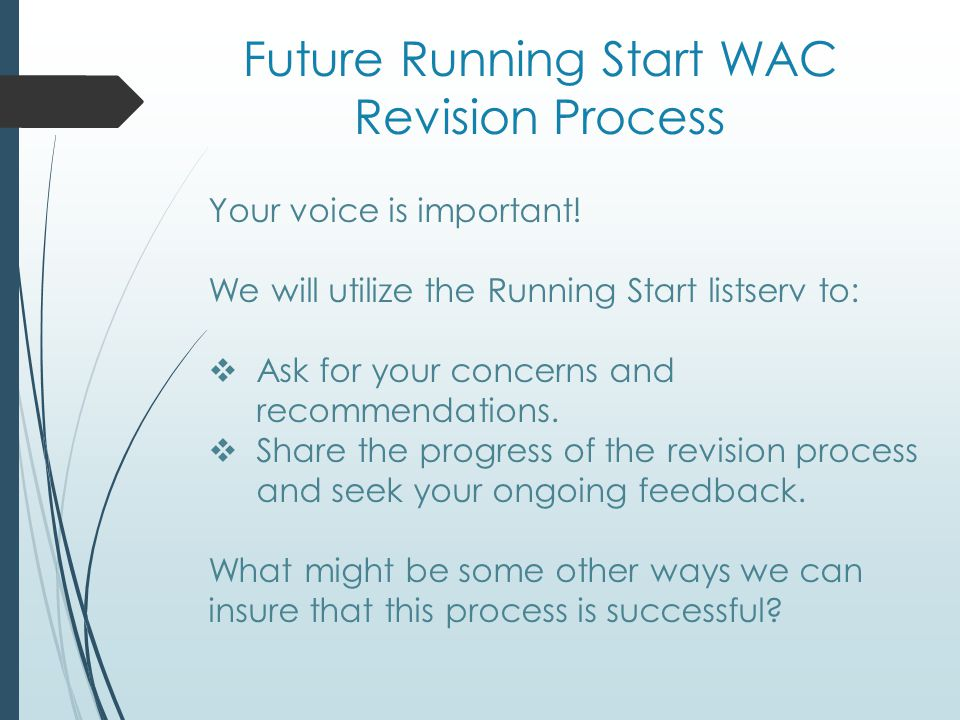 Future Running Start WAC Revision Process Your voice is important.