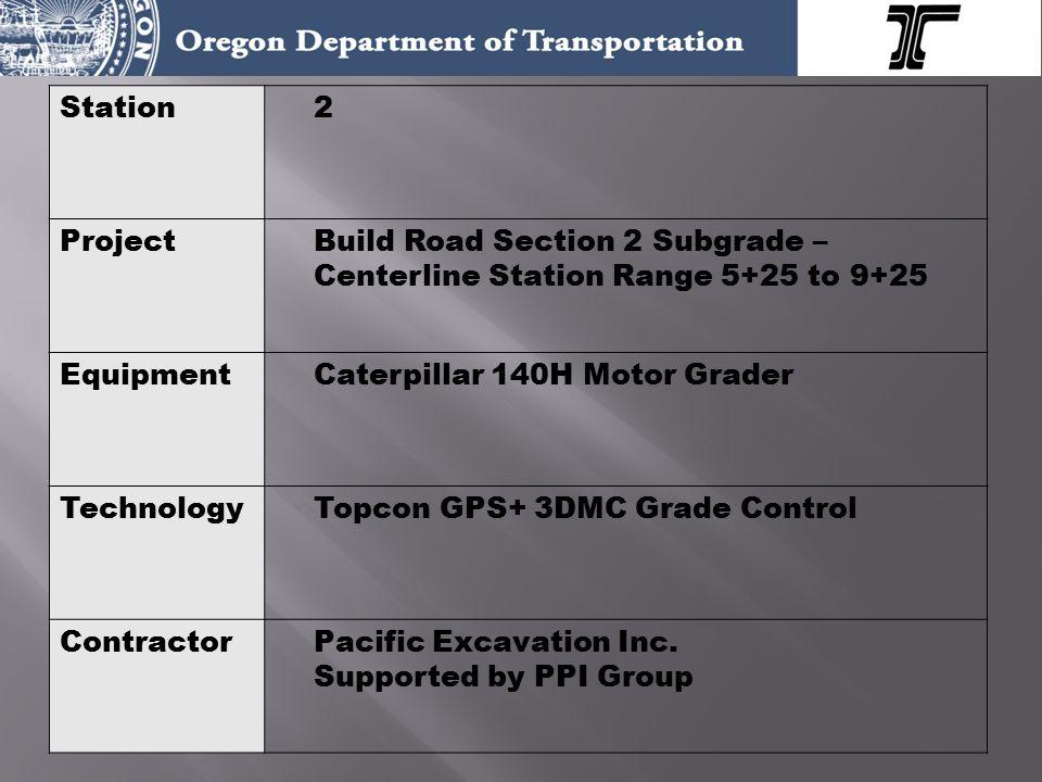 Station2 ProjectBuild Road Section 2 Subgrade – Centerline Station Range 5+25 to 9+25 EquipmentCaterpillar 140H Motor Grader TechnologyTopcon GPS+ 3DMC Grade Control ContractorPacific Excavation Inc.