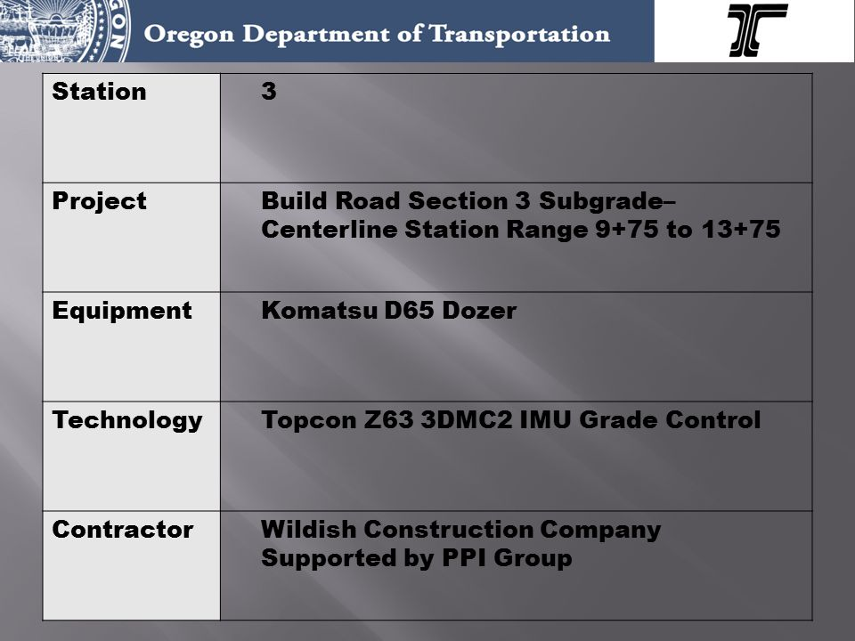 Station3 ProjectBuild Road Section 3 Subgrade– Centerline Station Range 9+75 to 13+75 EquipmentKomatsu D65 Dozer TechnologyTopcon Z63 3DMC2 IMU Grade Control ContractorWildish Construction Company Supported by PPI Group