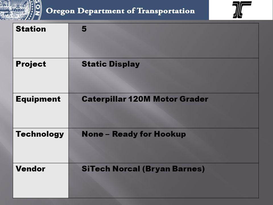 Station5 ProjectStatic Display EquipmentCaterpillar 120M Motor Grader TechnologyNone – Ready for Hookup VendorSiTech Norcal (Bryan Barnes)