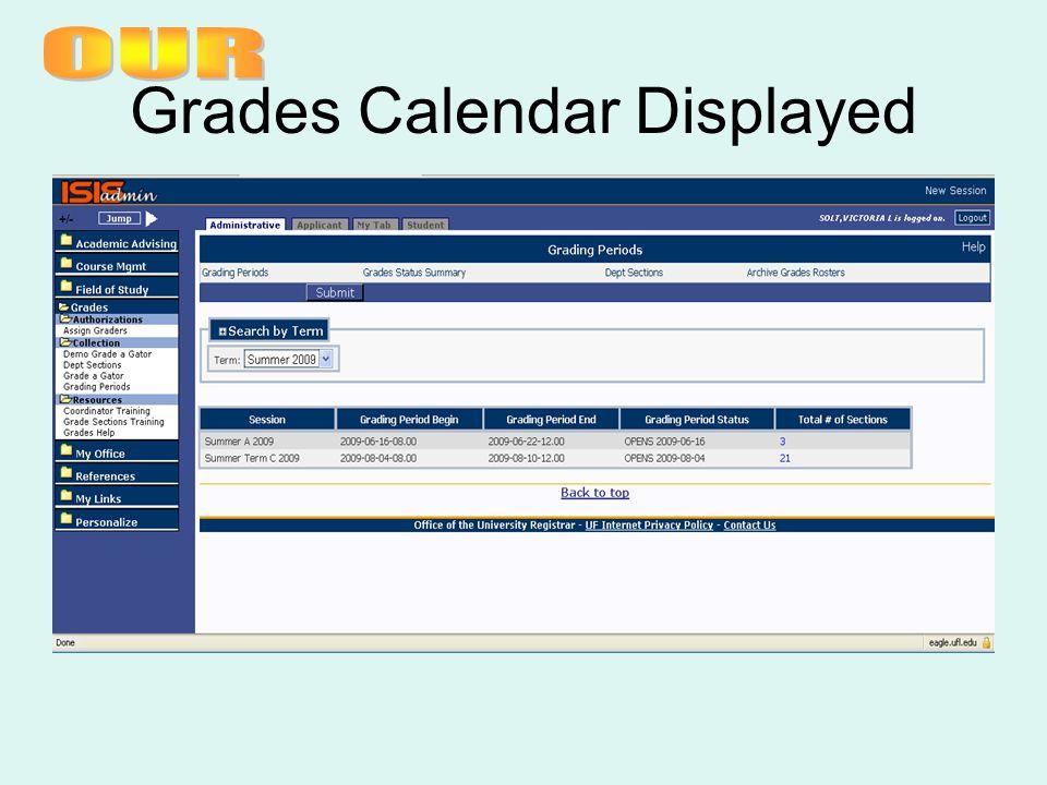 Grades Calendar Displayed