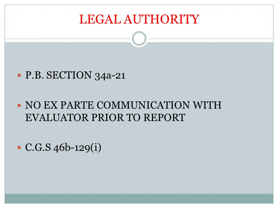 LEGAL AUTHORITY P.B.