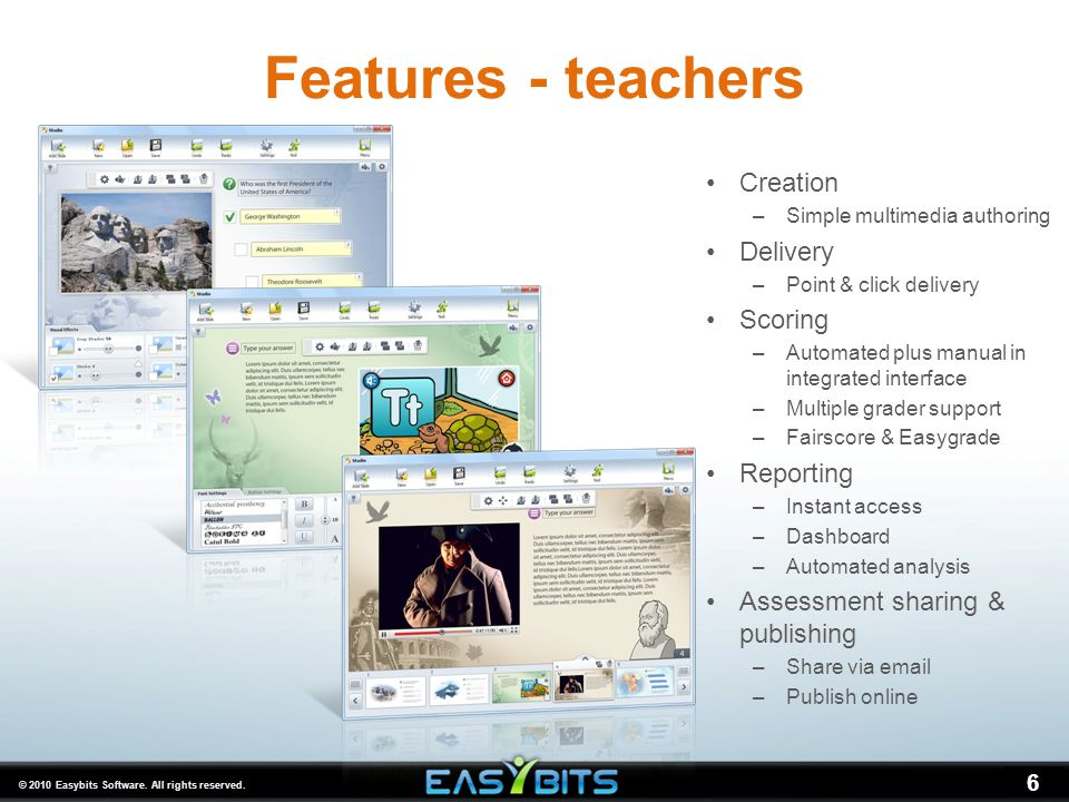 6 Features - teachers Creation –Simple multimedia authoring Delivery –Point & click delivery Scoring –Automated plus manual in integrated interface –M