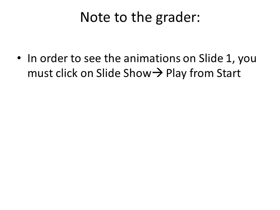 Note to the grader: In order to see the animations on Slide 1, you must click on Slide Show  Play from Start