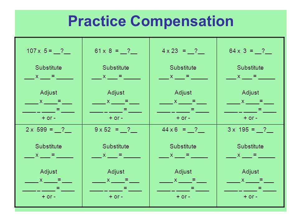 Practice Compensation 107 x 5 = __ __ Substitute ___ x ___ = _____ Adjust ____ x ____= ___ ____ _ ____ = ____ + or - 61 x 8 = __ __ Substitute ___ x ___ = _____ Adjust ____ x ____= ___ ____ _ ____ = ____ + or - 4 x 23 = __ __ Substitute ___ x ___ = _____ Adjust ____ x ____= ___ ____ _ ____ = ____ + or - 64 x 3 = __ __ Substitute ___ x ___ = _____ Adjust ____ x ____= ___ ____ _ ____ = ____ + or - 2 x 599 = __ __ Substitute ___ x ___ = _____ Adjust ____ x ____= ___ ____ _ ____ = ____ + or - 9 x 52 = __ __ Substitute ___ x ___ = _____ Adjust ____ x ____= ___ ____ _ ____ = ____ + or - 44 x 6 = __ __ Substitute ___ x ___ = _____ Adjust ____ x ____= ___ ____ _ ____ = ____ + or - 3 x 195 = __ __ Substitute ___ x ___ = _____ Adjust ____ x ____= ___ ____ _ ____ = ____ + or -