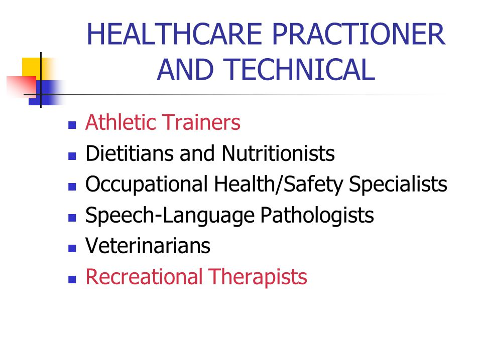 HEALTHCARE PRACTIONER AND TECHNICAL Athletic Trainers Dietitians and Nutritionists Occupational Health/Safety Specialists Speech-Language Pathologists