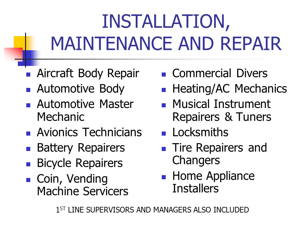 INSTALLATION, MAINTENANCE AND REPAIR Aircraft Body Repair Automotive Body Automotive Master Mechanic Avionics Technicians Battery Repairers Bicycle Re