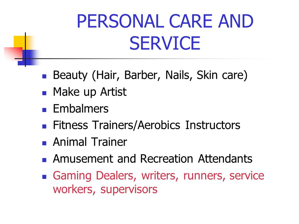 PERSONAL CARE AND SERVICE Baggers, Porters, Bellhops, Concierges Child Care workers Recreation Worker Residential Advisors Tour Guides, Escorts Ushers, Ticket Takers Supervisors/Managers Personal Service Workers