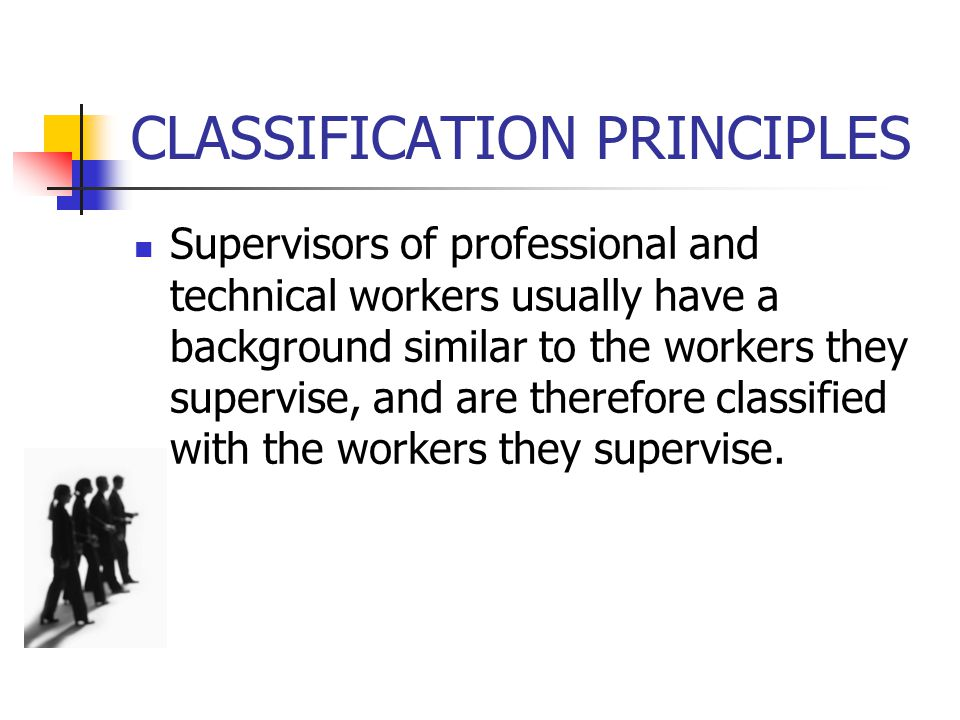 CLASSIFICATION PRINCIPLES o Apprentices and trainees should be classified with the occupations for which they are being trained, while helpers and aides should be classified separately.