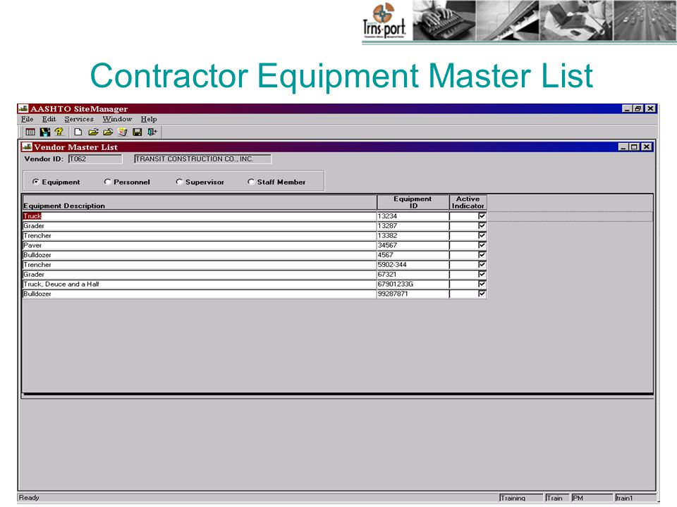 Contractor Equipment Master List