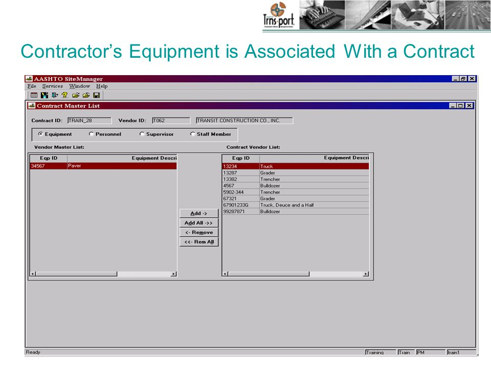 Contractor's Equipment is Associated With a Contract