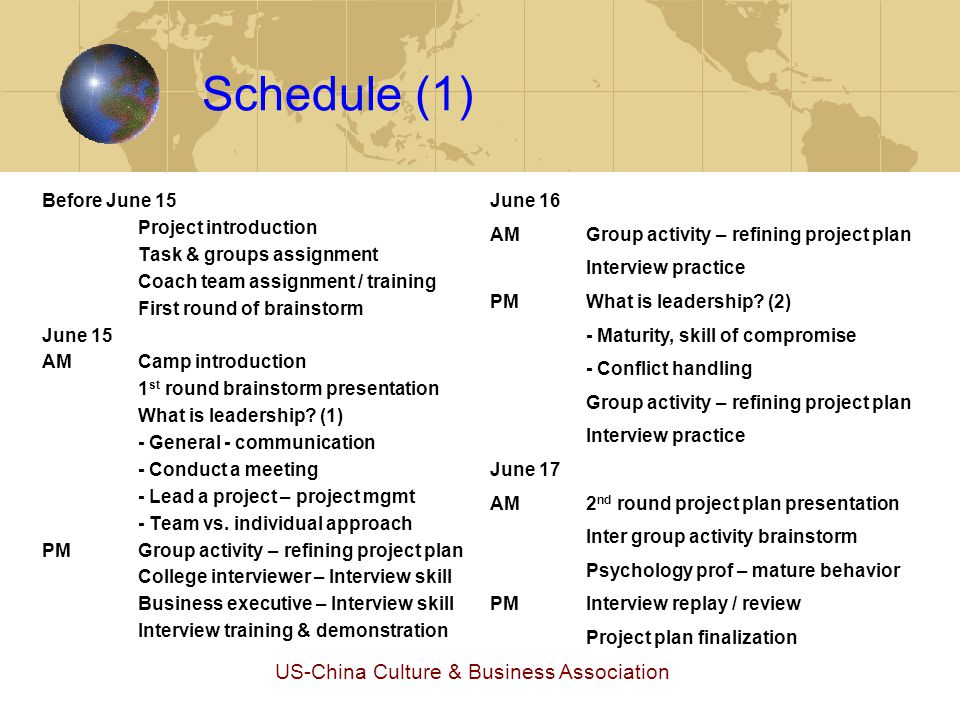 US-China Culture & Business Association Schedule (1) Before June 15 Project introduction Task & groups assignment Coach team assignment / training Fir