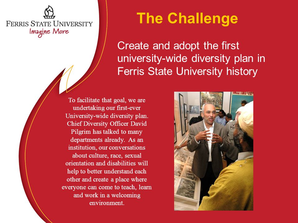 The Challenge Create and adopt the first university-wide diversity plan in Ferris State University history To facilitate that goal, we are undertaking our first-ever University-wide diversity plan.