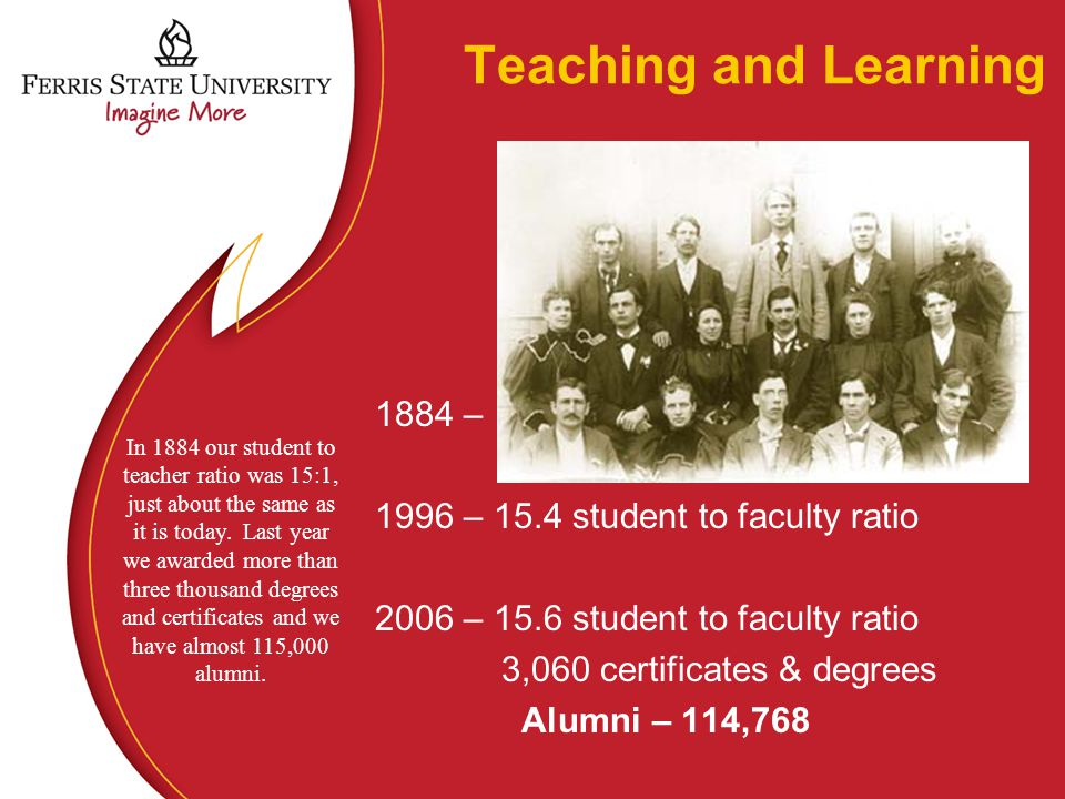 Teaching and Learning 1884 – 1996 – 15.4 student to faculty ratio 2006 – 15.6 student to faculty ratio 3,060 certificates & degrees Alumni – 114,768 In 1884 our student to teacher ratio was 15:1, just about the same as it is today.