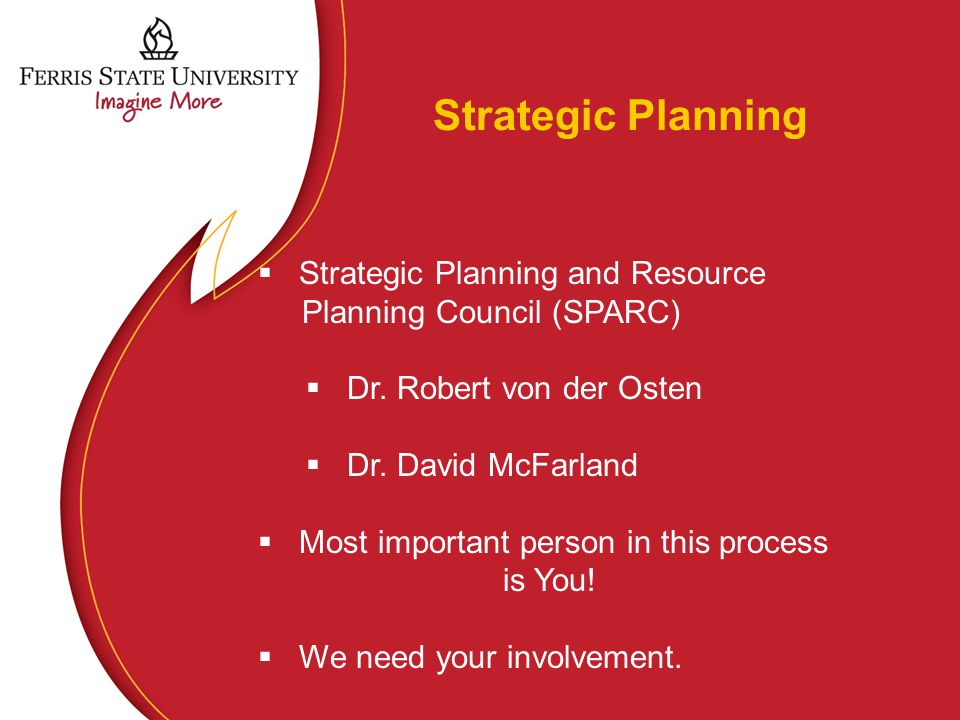 Strategic Planning  Strategic Planning and Resource Planning Council (SPARC)  Dr.