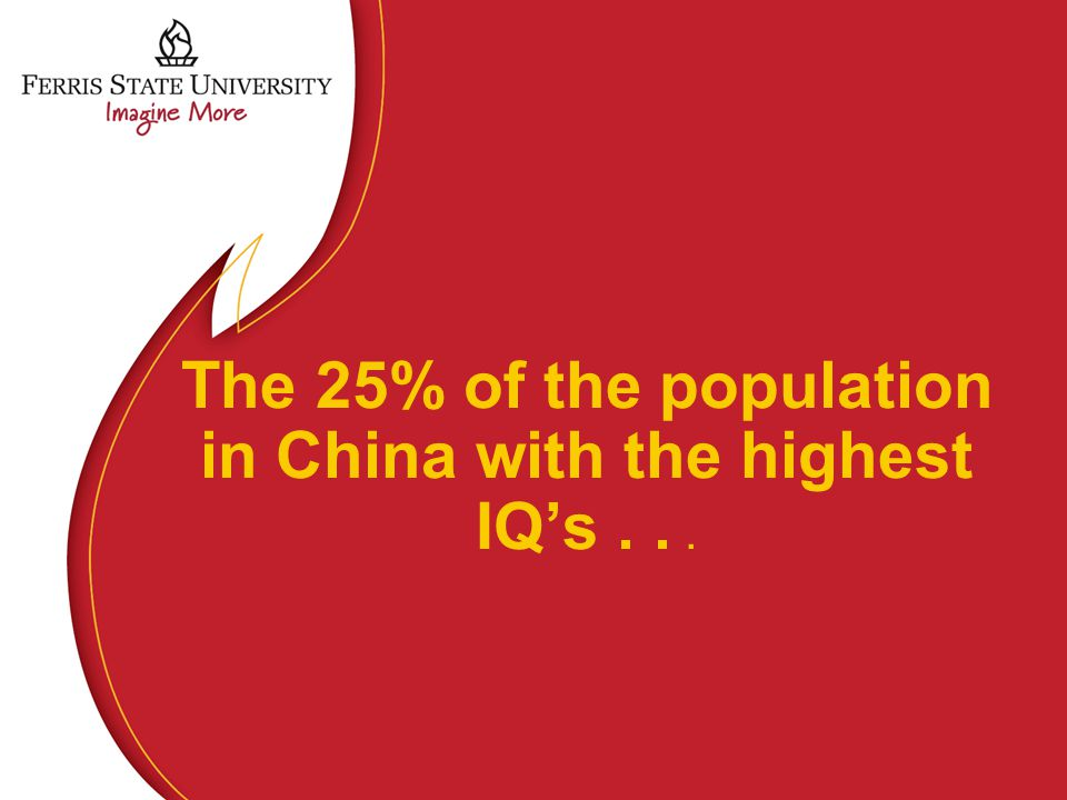 The 25% of the population in China with the highest IQ's...