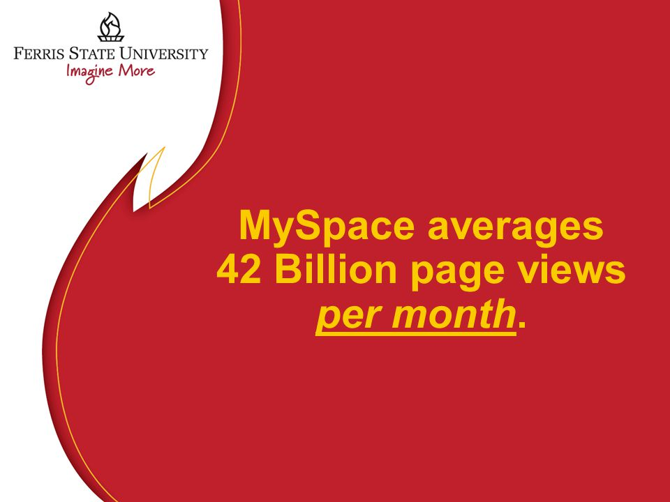 MySpace averages 42 Billion page views per month.