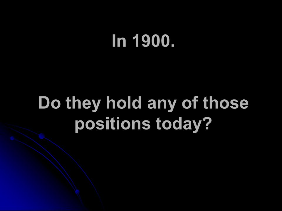 In 1900. Do they hold any of those positions today