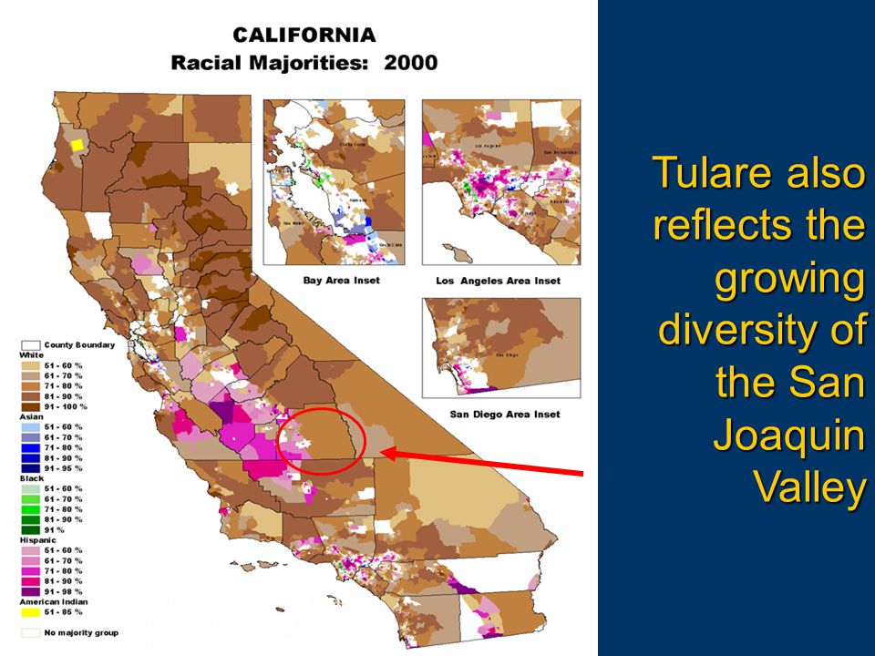Source: Public Policy Institute of California; Calif. Dept. of Finance; 2000 Census Tulare also reflects the growing diversity of the San Joaquin Vall