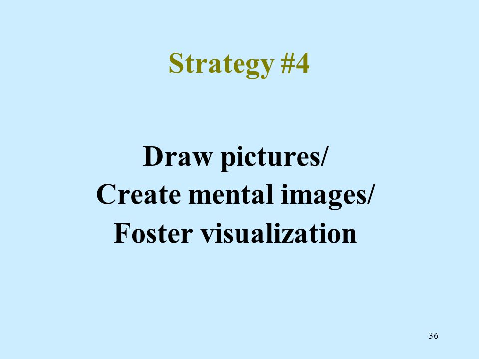 36 Strategy #4 Draw pictures/ Create mental images/ Foster visualization