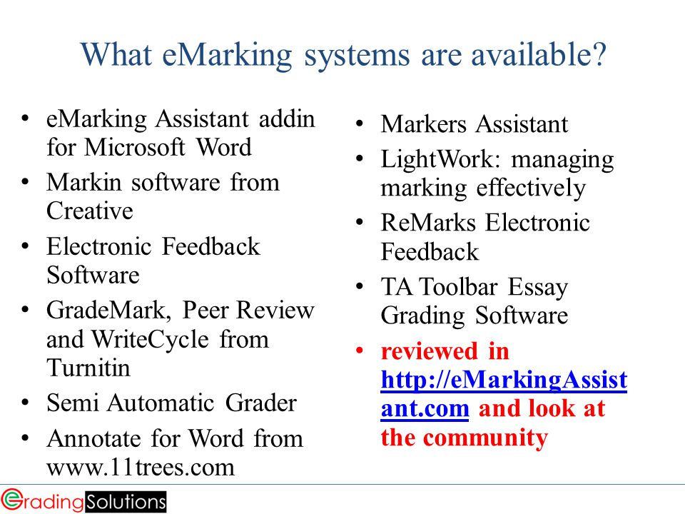 What eMarking systems are available.