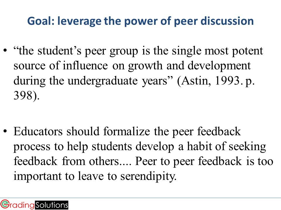Goal: leverage the power of peer discussion the student's peer group is the single most potent source of influence on growth and development during the undergraduate years (Astin, 1993.
