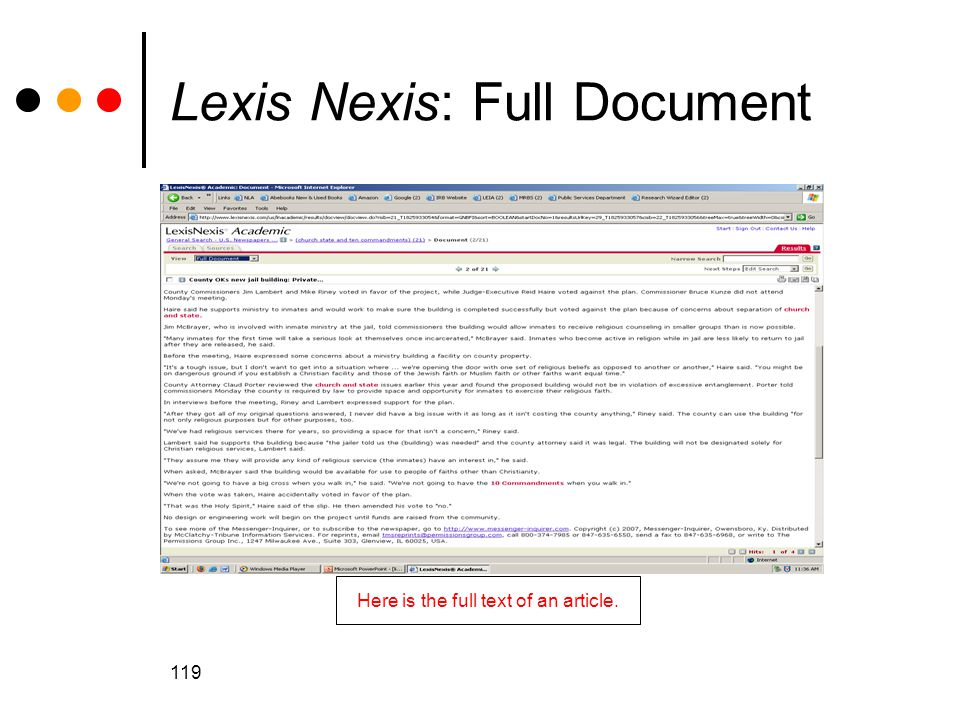 119 Lexis Nexis: Full Document Here is the full text of an article.