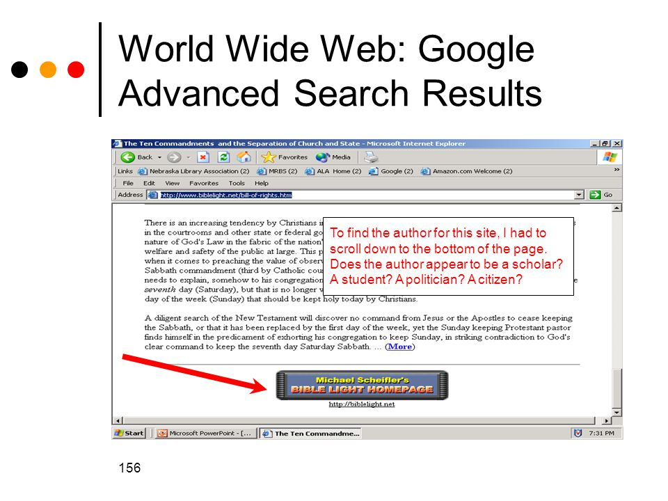 156 World Wide Web: Google Advanced Search Results To find the author for this site, I had to scroll down to the bottom of the page.