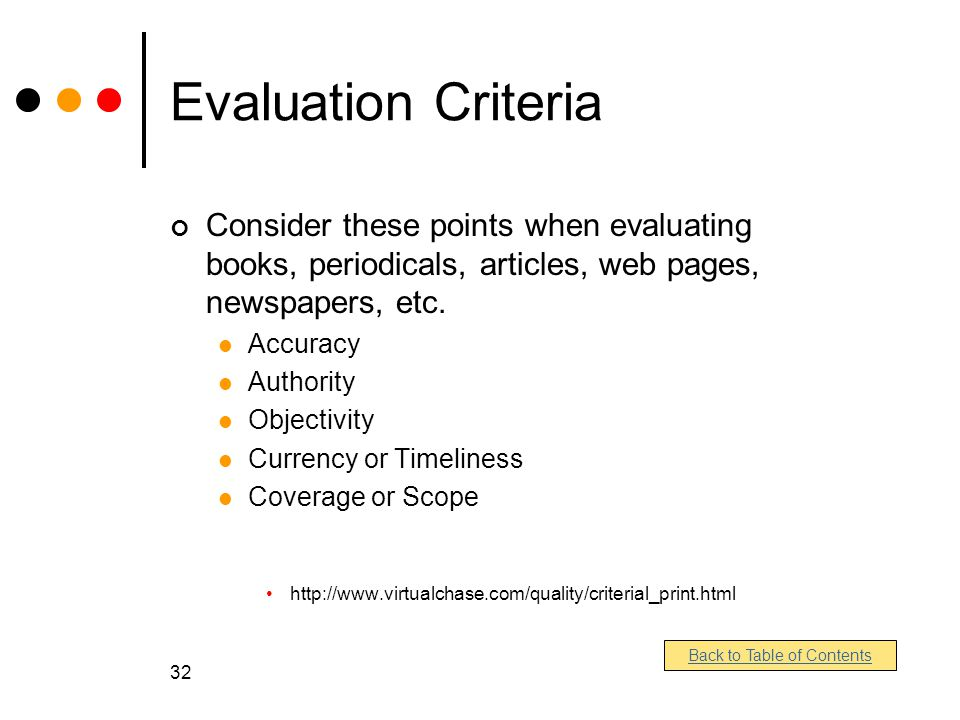 32 Evaluation Criteria Consider these points when evaluating books, periodicals, articles, web pages, newspapers, etc.