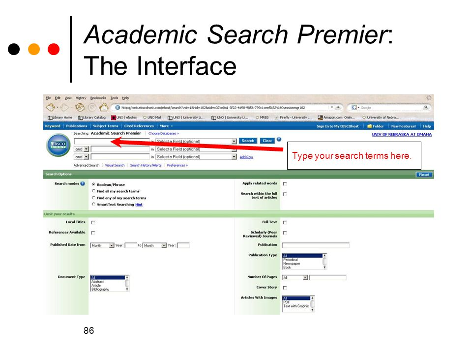 86 Academic Search Premier: The Interface The EBSCO interface: notice the database name.
