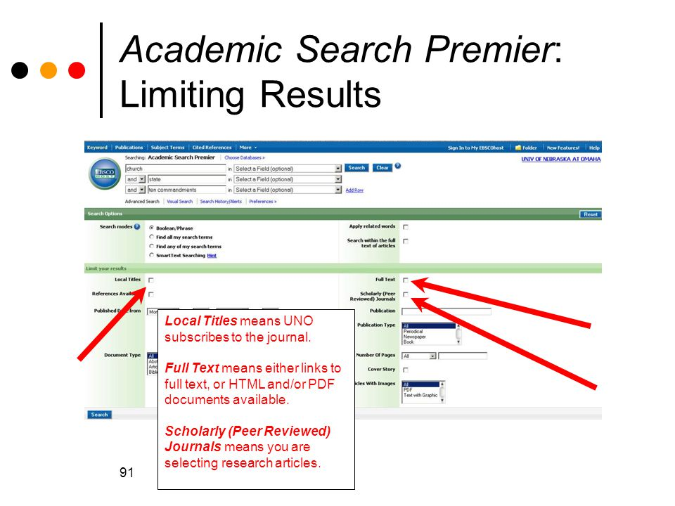 91 Academic Search Premier: Limiting Results Local Titles means UNO subscribes to the journal.