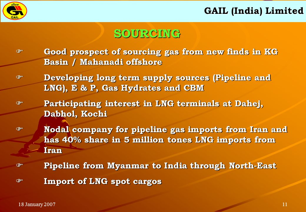 GAIL (India) Limited 1118 January 2007  Good prospect of sourcing gas from new finds in KG Basin / Mahanadi offshore  Developing long term supply sources (Pipeline and LNG), E & P, Gas Hydrates and CBM  Participating interest in LNG terminals at Dahej, Dabhol, Kochi  Nodal company for pipeline gas imports from Iran and has 40% share in 5 million tones LNG imports from Iran  Pipeline from Myanmar to India through North-East  Import of LNG spot cargos SOURCING