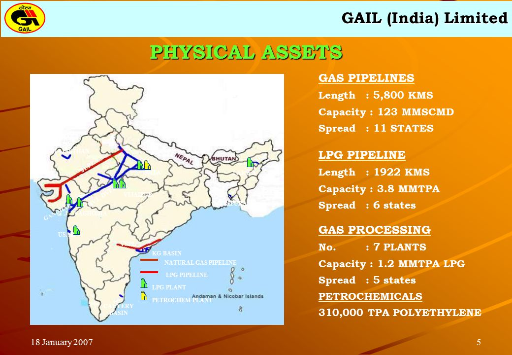 GAIL (India) Limited 518 January 2007 GAS PIPELINES Length: 5,800 KMS Capacity : 123 MMSCMD Spread : 11 STATES LPG PIPELINE Length : 1922 KMS Capacity