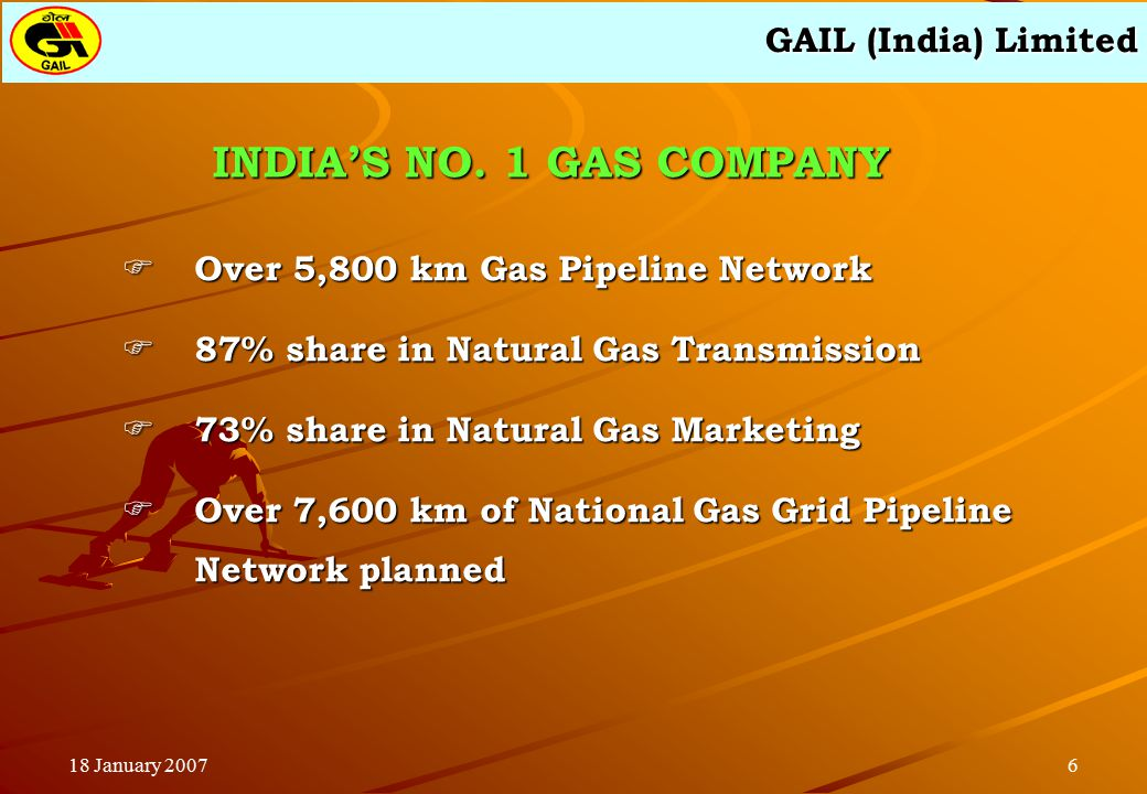 GAIL (India) Limited 618 January 2007  Over 5,800 km Gas Pipeline Network  87% share in Natural Gas Transmission  73% share in Natural Gas Marketing  Over 7,600 km of National Gas Grid Pipeline Network planned INDIA'S NO.