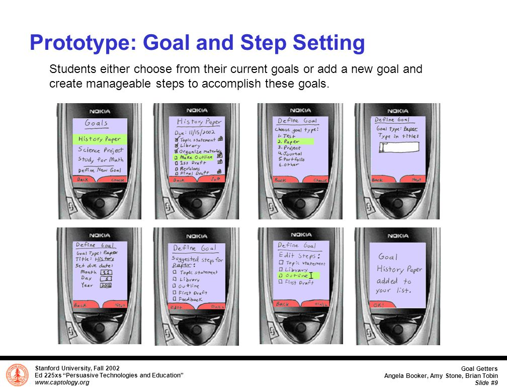 Stanford University, Fall 2002 Ed 225xs Persuasive Technologies and Education www.captology.org Goal Getters Angela Booker, Amy Stone, Brian Tobin Slide #10 Prototype: Goal and Step Completion Once students complete a step, they check it off in their goals folder and snap a photo of it which will automatically be sent to their database files.