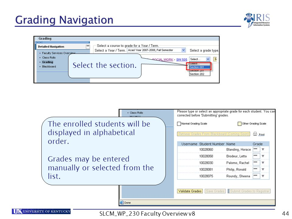 SLCM_WP_230 Faculty Overview v844 Grading Navigation Select the section.