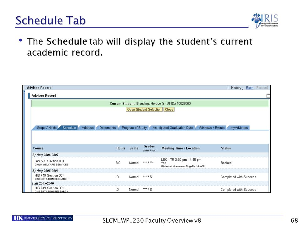 SLCM_WP_230 Faculty Overview v868 Schedule Tab will display the student's current academic record.