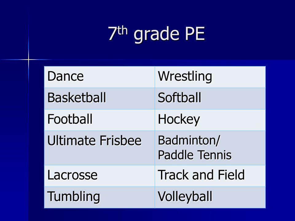 7 th grade PE DanceWrestling BasketballSoftball FootballHockey Ultimate Frisbee Badminton/ Paddle Tennis Lacrosse Track and Field TumblingVolleyball