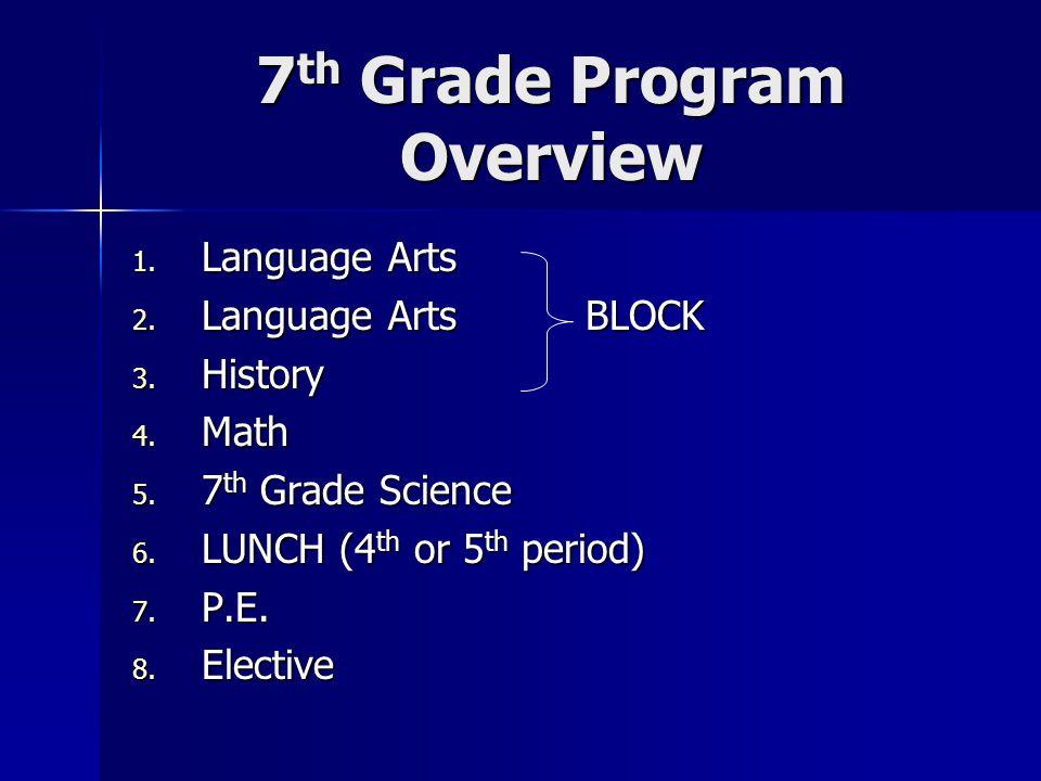7 th Grade Program Overview 1. Language Arts 2. Language Arts BLOCK 3. History 4. Math 5. 7 th Grade Science 6. LUNCH (4 th or 5 th period) 7. P.E. 8.
