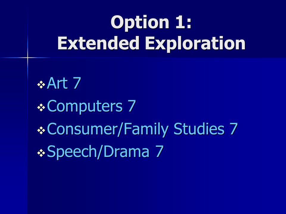 Option 1: Extended Exploration  Art 7  Computers 7  Consumer/Family Studies 7  Speech/Drama 7  Art 7  Computers 7  Consumer/Family Studies 7 