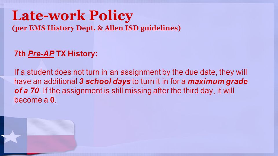 Late-work Policy (per EMS History Dept.