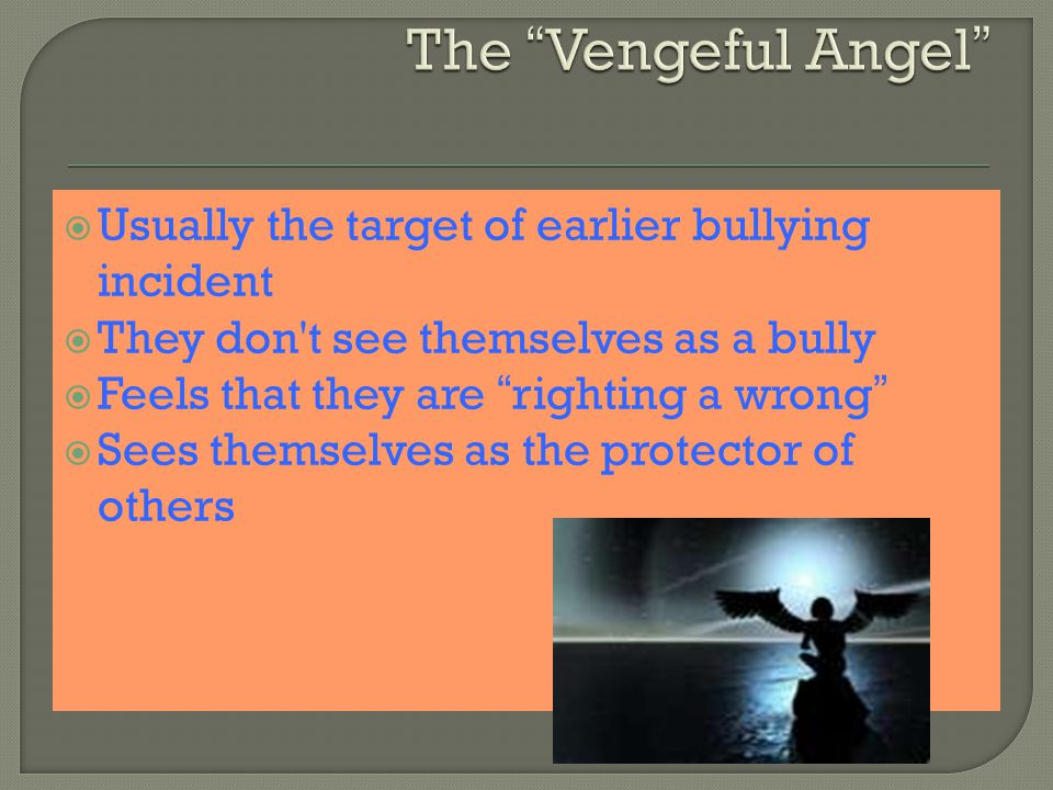  Usually the target of earlier bullying incident  They don t see themselves as a bully  Feels that they are righting a wrong  Sees themselves as the protector of others