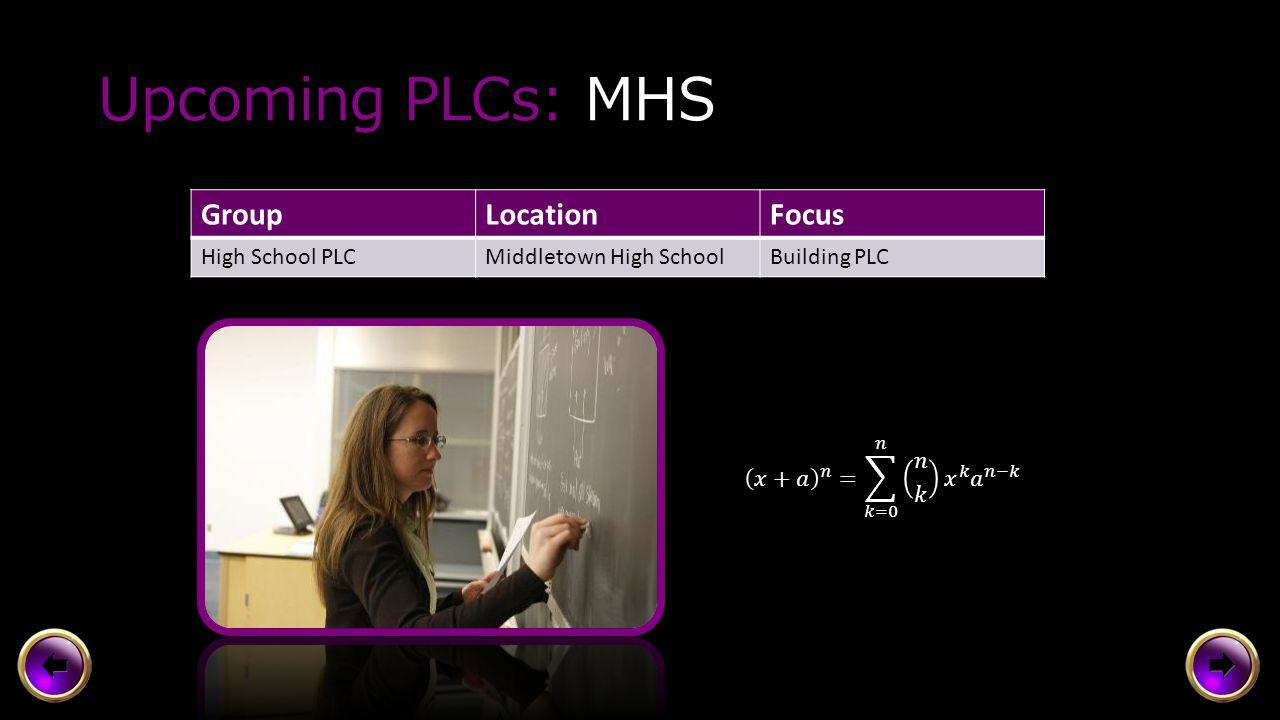 Upcoming PLCs: MMS, HV, Central GroupLocationFocus PLC GroupsIn BuildingsBuilding PLCs