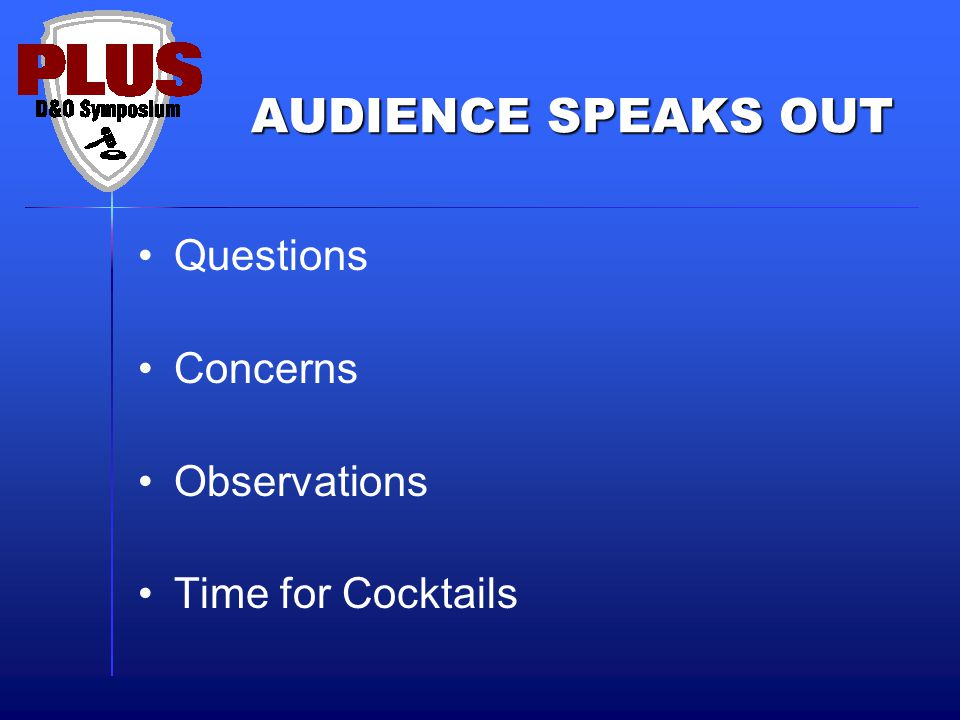 AUDIENCE SPEAKS OUT Questions Concerns Observations Time for Cocktails