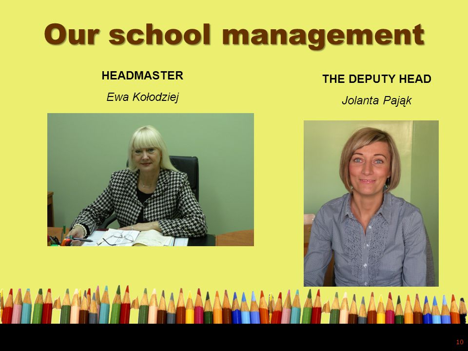 Our school management 10 HEADMASTER Ewa Kołodziej THE DEPUTY HEAD Jolanta Pająk