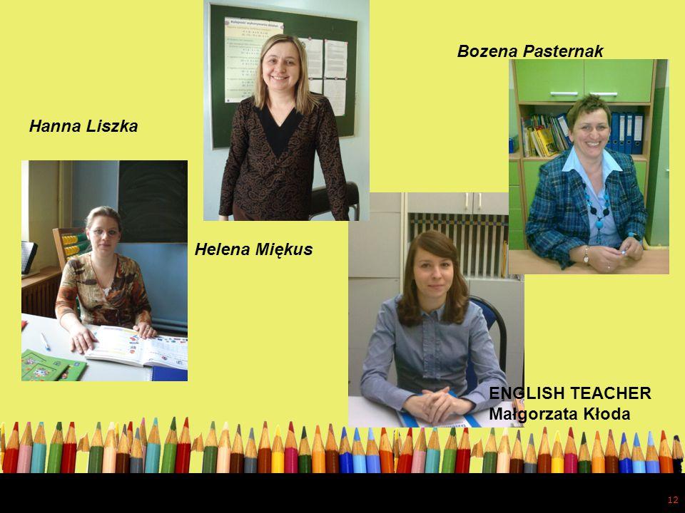 12 Hanna Liszka Helena Miękus Bozena Pasternak ENGLISH TEACHER Małgorzata Kłoda